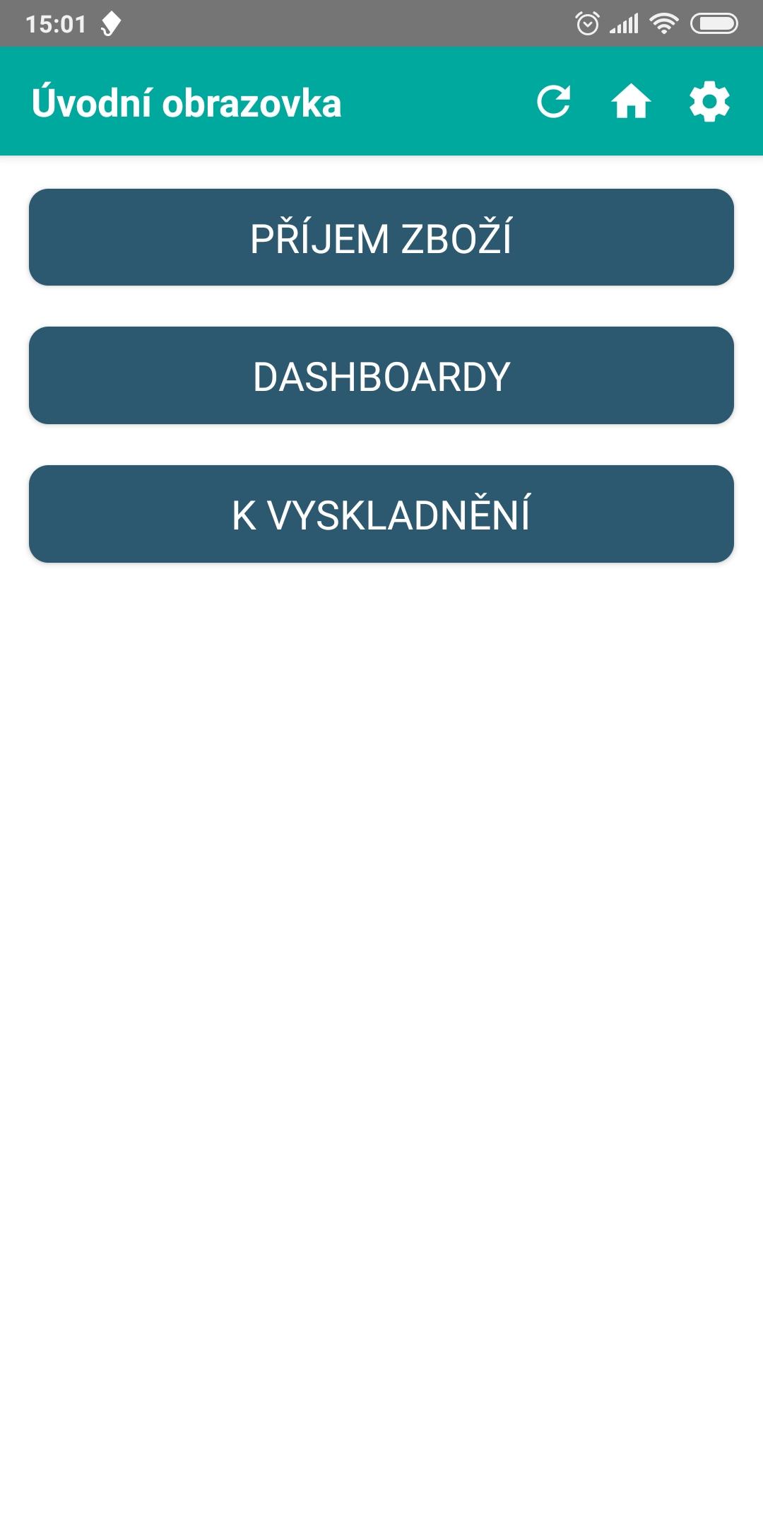úvodní obrazovka mobilní aplikace